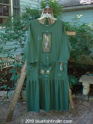 Vintage Blue Fish Clothing 1995 Studio Dress Violin Green Tea Size 1- Bluefishfinder.com