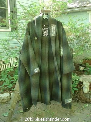 Vintage Blue Fish Clothing 1995 Theater Coat Greenware Plaid OSFA- Bluefishfinder.com