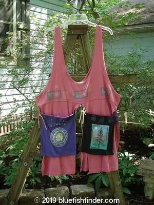 Vintage Blue Fish Clothing 1996 4 Corner Pocket Apron Vest Hibiscus Travel OSFA- Bluefishfinder.com