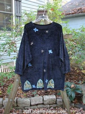Vintage Blue Fish Clothing 1996 Velvet Mythical Top Scatter Flower Ebony Size 1- Bluefishfinder.com