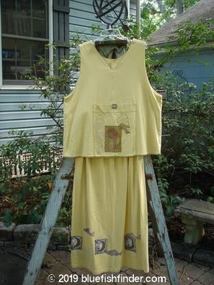 Vintage Blue Fish Clothing 1998 Postmark Vest Straight Skirt Duo Canary Size 2- Bluefishfinder.com