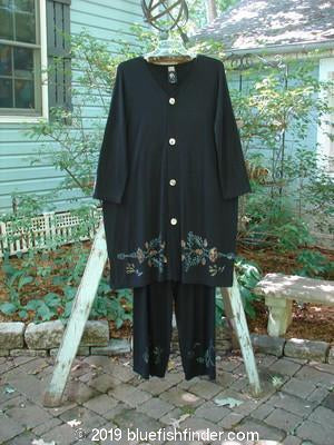 Vintage Blue Fish Clothing 1998 Rayon Lycra Long Cardigan Straight Pant Duo Nature Black OSFA- Bluefishfinder.com