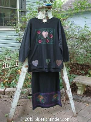 Vintage Blue Fish Clothing 1999 Long Sleeved Vented Tee Straight Skirt Duo Black Size 1- Bluefishfinder.com