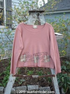 Vintage Blue Fish Clothing 1999 Roundneck Rib Top Abstract Key Light Mauve Size 1- Bluefishfinder.com