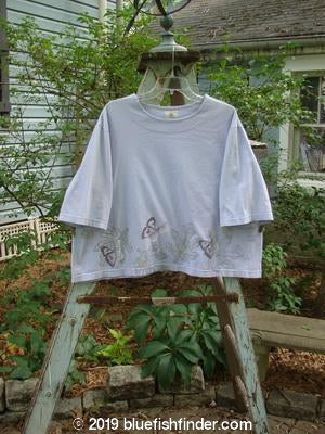 Vintage Blue Fish Clothing 1999 Short Sleeved Box Top Butterfly Lilac Size 1- Bluefishfinder.com
