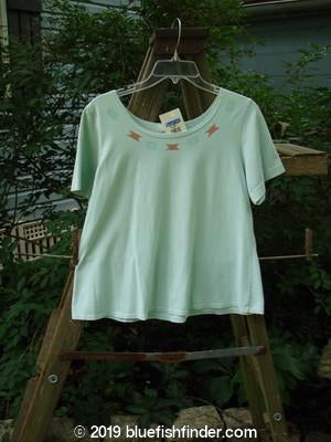 Vintage Blue Fish Clothing 2000 NWT Cotton Lycra Short Sleeved A Line Top Gems Shark Size 1- Bluefishfinder.com