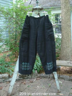Vintage Blue Fish Clothing 2000 NWT Linen Painter Pant Abstract Black Size 2- Bluefishfinder.com
