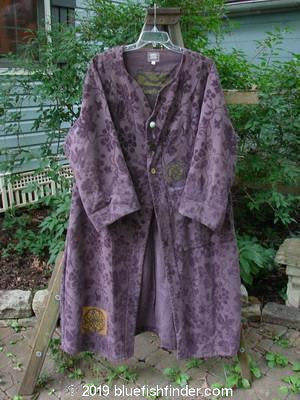 Vintage Blue Fish Clothing 2000 Upholstery Diwmach Coat Floral and Fern Aubergine Size 1- Bluefishfinder.com