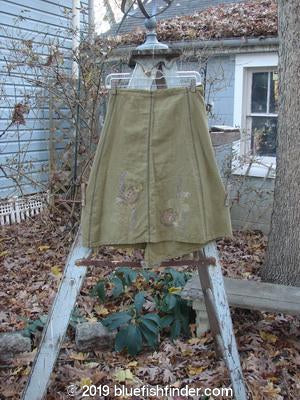 Vintage Blue Fish Clothing Barclay Linen Side Wrap Skirt Floral Olive OSFA- Bluefishfinder.com