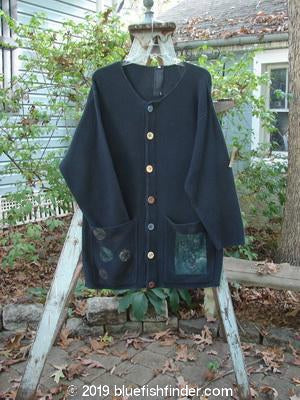 Vintage Blue Fish Clothing 1993 Waffle Long Pocket Cardigan Planet Black OSFA- Bluefishfinder.com