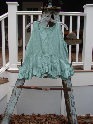 Vintage Blue Fish Clothing Magnolia Pearl Linen Roman Ruffle Top Bright Sage OS- Bluefishfinder.com