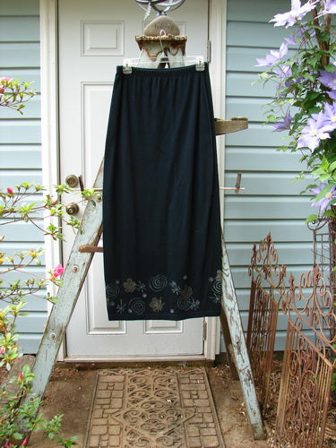 Vintage Blue Fish Clothing 1996 Cotton Lycra Back Vent Skirt Celestial Flower Black Size 1- Bluefishfinder.com