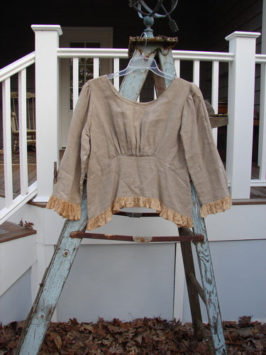 Vintage Blue Fish Clothing Magnolia Pearl Linen Long Sleeved Lace Empire Top Army OS- Bluefishfinder.com