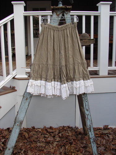 Vintage Blue Fish Clothing Magnolia Pearl Linen Homespun Giant Ruffle Bottom Bloomer Natural OS- Bluefishfinder.com