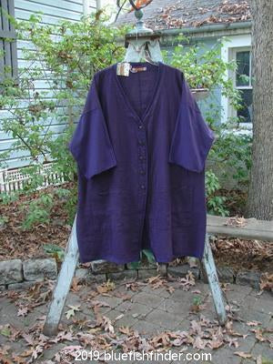 Vintage Blue Fish Clothing Barclay NWT Linen Pattern Coat Deep Eggplant Size 1- Bluefishfinder.com
