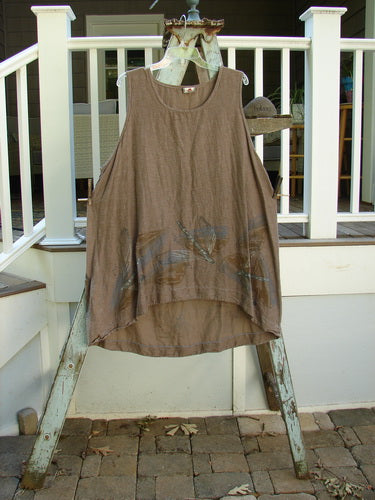 Vintage Blue Fish Clothing Barclay Silk Voile Venetian Pinafore Dragonflies Mocha Size 0- Bluefishfinder.com