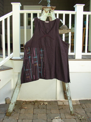 Vintage Blue Fish Clothing Barclay Linen Cross Over Pinafore Plaid Dark Plum Size 2- Bluefishfinder.com