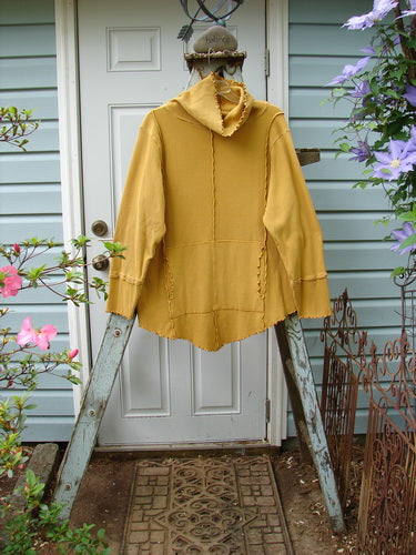 Vintage Blue Fish Clothing Barclay Thermal Reverse Stitch Curly Cowl Tunnel Pocket Tunic Mustard Size 1- Bluefishfinder.com