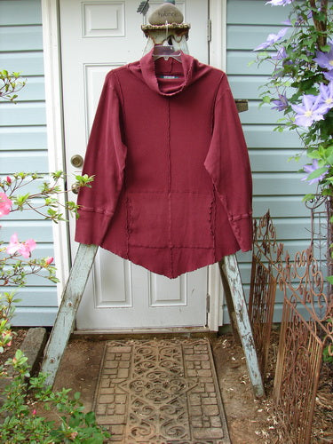 Vintage Blue Fish Clothing Barclay Thermal Reverse Stitch Curly Cowl Tunnel Pocket Tunic Burgundy Size 2- Bluefishfinder.com