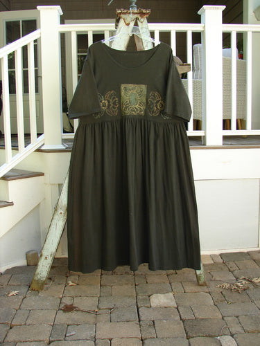 Vintage Blue Fish Clothing 1992 Short Sleeved Simple Dress Holiday Metallic Black Sand Size 1- Bluefishfinder.com