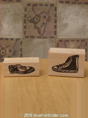 Vintage Blue Fish Clothing 1997 Unused Rubber Stamps Sneaker City Theme OS- Bluefishfinder.com