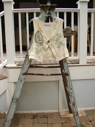 Vintage Blue Fish Clothing 1998 Botanicals Rivulet Vest Leaf Fern Queen Anne's Lace Size 0- Bluefishfinder.com