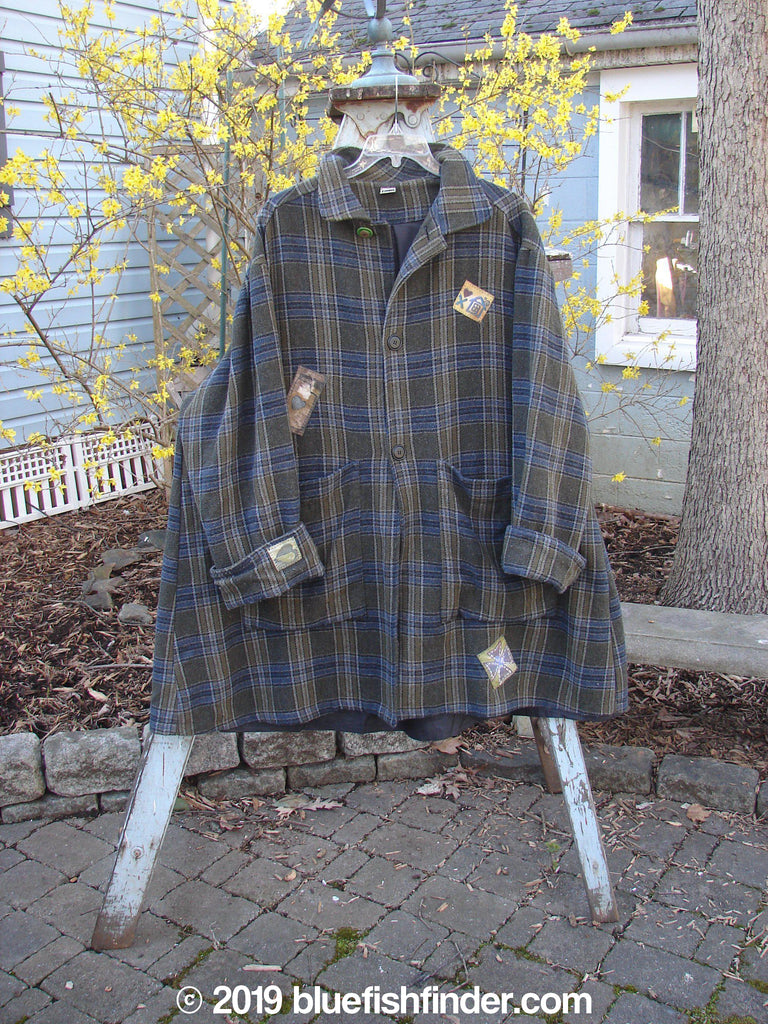 Vintage Blue Fish Clothing 1999 Patched Three Quarter Plaid Coat Size 2- Bluefishfinder.com