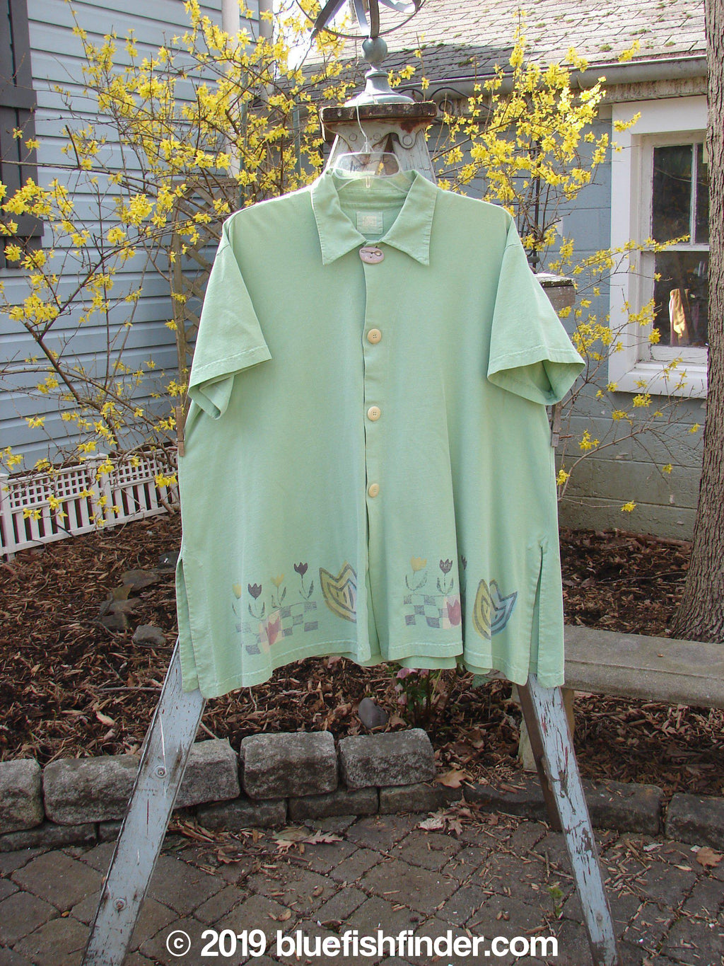 Vintage Blue Fish Clothing 1999 Tarragon Top Tulip Spearmint Size 2- Bluefishfinder.com
