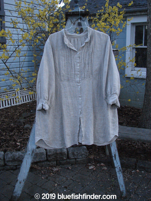 Vintage Blue Fish Clothing Magnolia Pearl Linen Placket Shirt Natural OS- Bluefishfinder.com