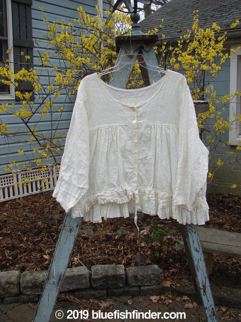 Vintage Blue Fish Clothing Magnolia Pearl Linen Homespun Empire Jacket White OS- Bluefishfinder.com