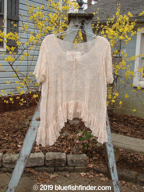 Vintage Blue Fish Clothing Magnolia Pearl Brocade Top Pale Pink OS- Bluefishfinder.com