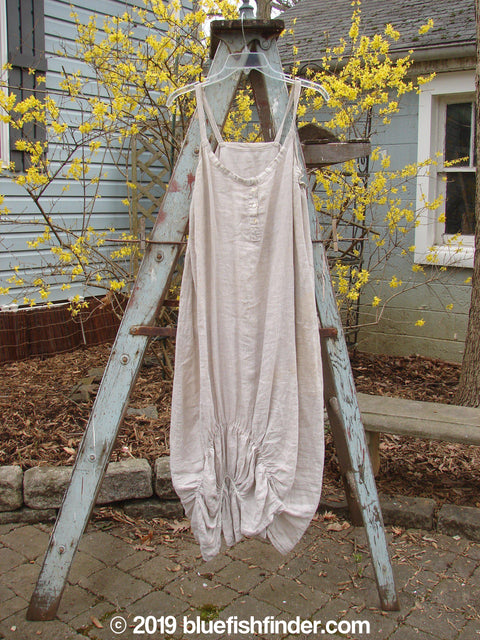 Vintage Blue Fish Clothing Magnolia Pearl Linen Ruched Slip Dress Natural OS- Bluefishfinder.com