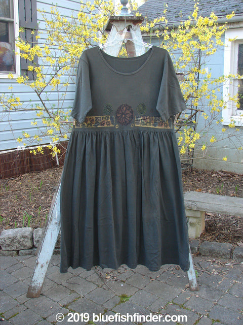 Vintage Blue Fish Clothing 1993 Short Sleeved Simple Dress Metallics Black Sand Size 1- Bluefishfinder.com