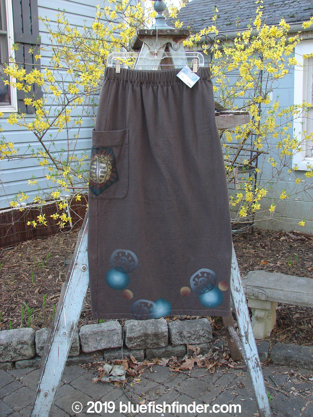 Vintage Blue Fish Clothing 1996 NWT Big Pocket Skirt Many Moons Molasses Size 1- Bluefishfinder.com