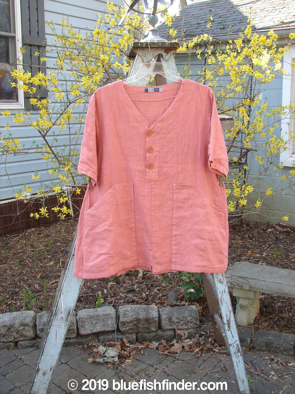Vintage Blue Fish Clothing Barclay Big Pocket Tunic Corals Dusty Sherbet Size 0- Bluefishfinder.com