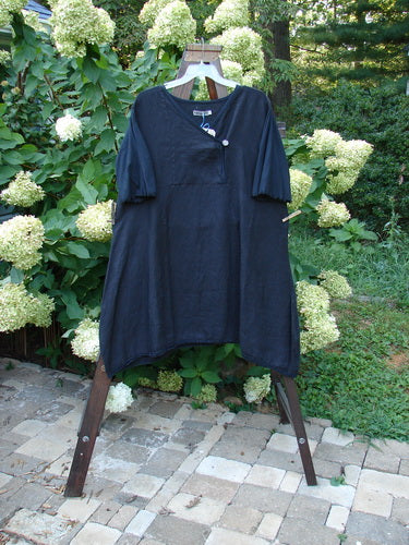 Vintage Blue Fish Clothing Barclay NWT Linen Cross Over Button Lace Bottom Dress Unpainted Black Size 2- Bluefishfinder.com