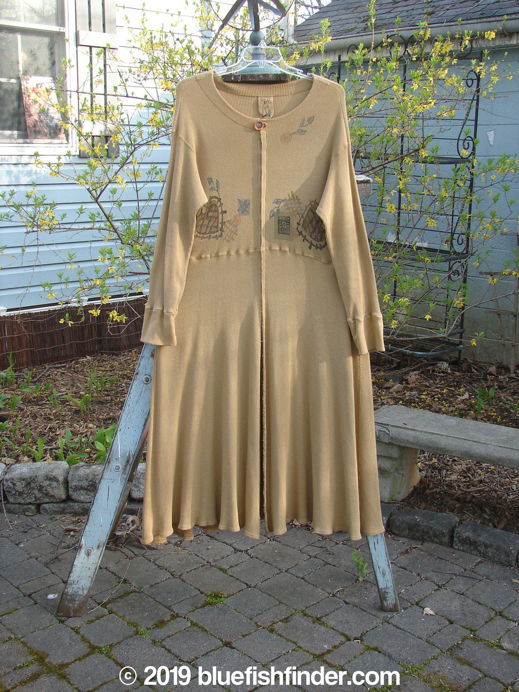 Vintage Blue Fish Clothing 1995 Soliloquy Dress Heart Burnished Gold Size 2- Bluefishfinder.com
