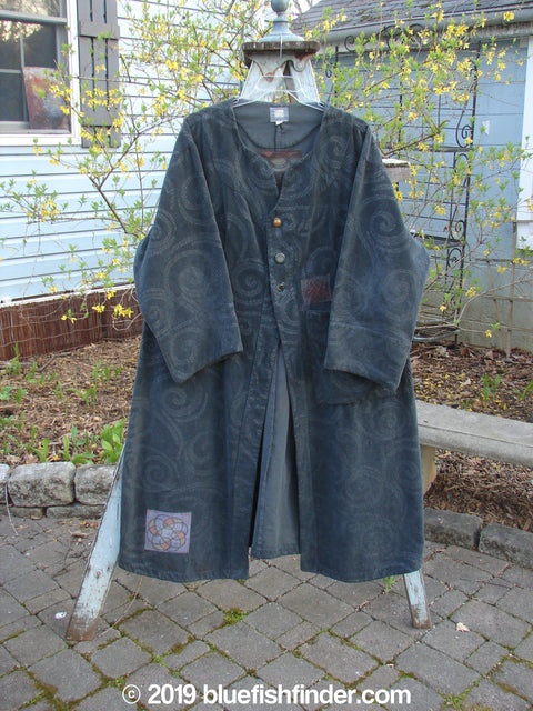 Vintage Blue Fish Clothing 2000 Patched Upholstery Diwmach Coat Swirl Black Size 2- Bluefishfinder.com
