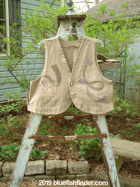 Vintage Blue Fish Clothing 1997 Troubadour Vest Atom Wheat Size 2- Bluefishfinder.com