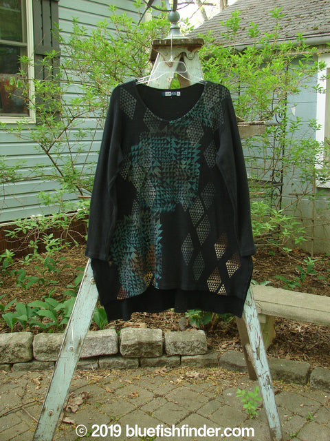 Vintage Blue Fish Clothing Barclay Thermal Shirttail Tunic Mosaic Black Size 0- Bluefishfinder.com