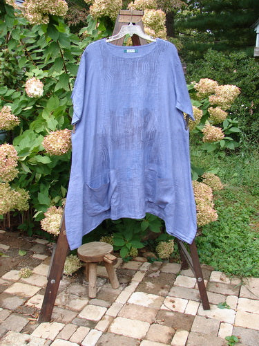Vintage Blue Fish Clothing Barclay Linen Drop Pocket Tunic Top Verticals Sunset Blue Size 2- Bluefishfinder.com