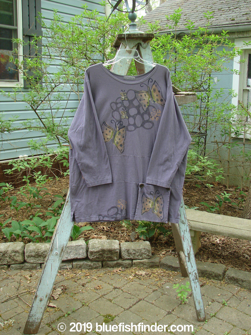 Vintage Blue Fish Clothing 1996 Gatherer's Tunic Butterfly Purple Martin Size 2- Bluefishfinder.com
