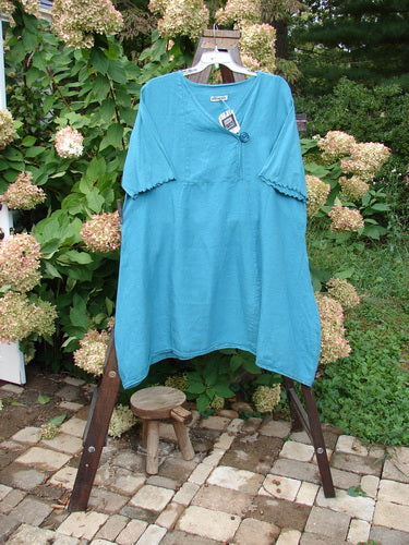 Vintage Blue Fish Clothing Barclay NWT Linen Cross Over Button Lace Bottom Dress Turq Size 2- Bluefishfinder.com