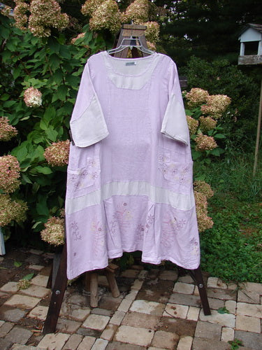 Vintage Blue Fish Clothing Barclay Contrast Drop Pocket Dress Tiny Flower Heathered Lilac Size 2- Bluefishfinder.com