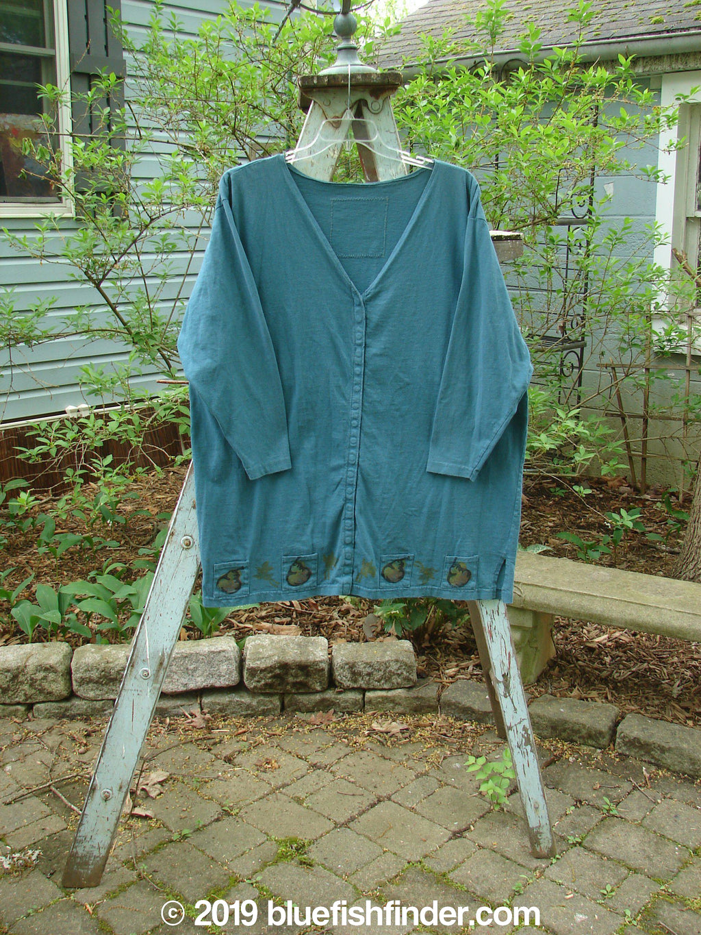 Vintage Blue Fish Clothing 1993 Sticks and Stones Jacket Pear Harvest Ocean OSFA- Bluefishfinder.com