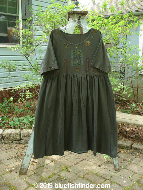 Vintage Blue Fish Clothing 1992 Short Sleeved Simple Dress Holiday Metallic Black Sand Size 2- Bluefishfinder.com