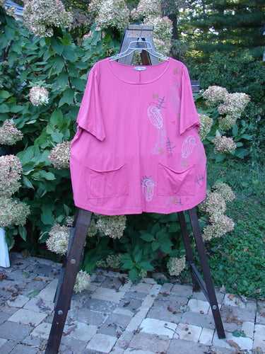 Vintage Blue Fish Clothing Barclay Double Pocket Twinkle Top Owl Pink Peony Size 2- Bluefishfinder.com