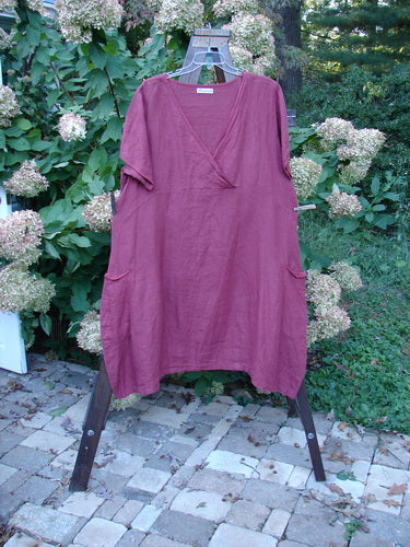 Vintage Blue Fish Clothing Barclay Linen Crossover Flutter Pocket Dress Burgundy Size 2- Bluefishfinder.com