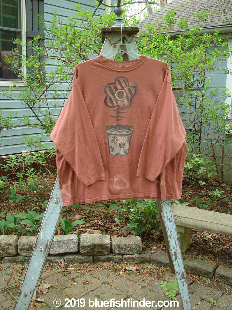 Vintage Blue Fish Clothing 1995 Long Sleeved Tee Single Flowerpot Russet Size 2- Bluefishfinder.com