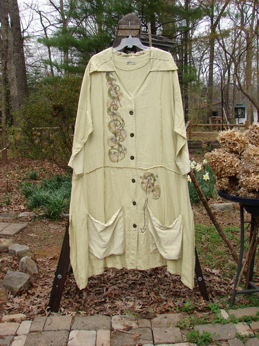 Vintage Blue Fish Clothing Barclay Silk Linen Collar Duster Wind Star Plantain Size 2- Bluefishfinder.com